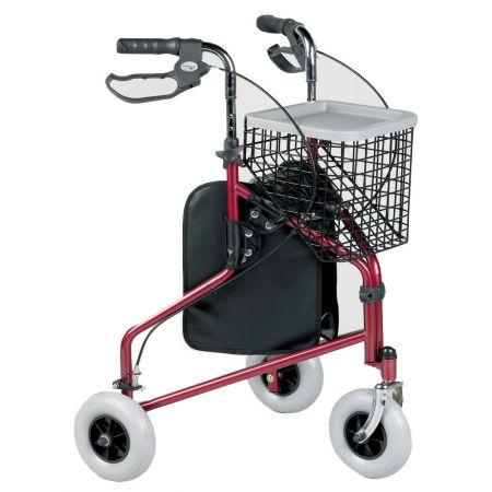 Aluminium Tri Walker with Detachable Bag and Basket