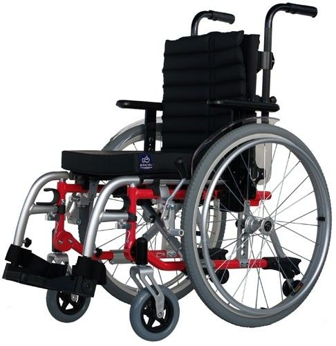 Excel G5 Modular Kids Self Propelled Wheelchair in red side view