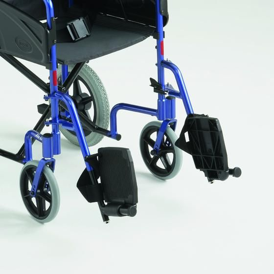 Alu lite aluminium transit wheelchair  showing the flip-up foot plates