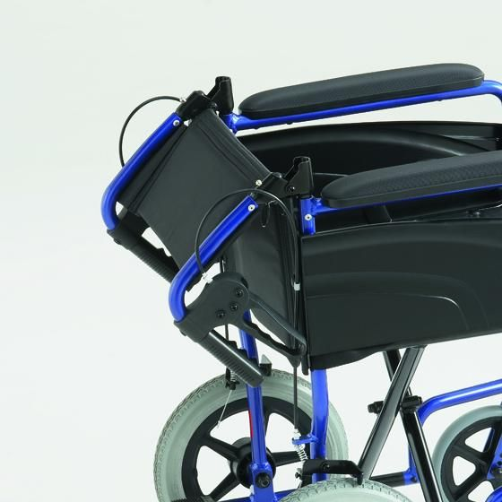 The alu-lite wheelchair showing the seatback folded