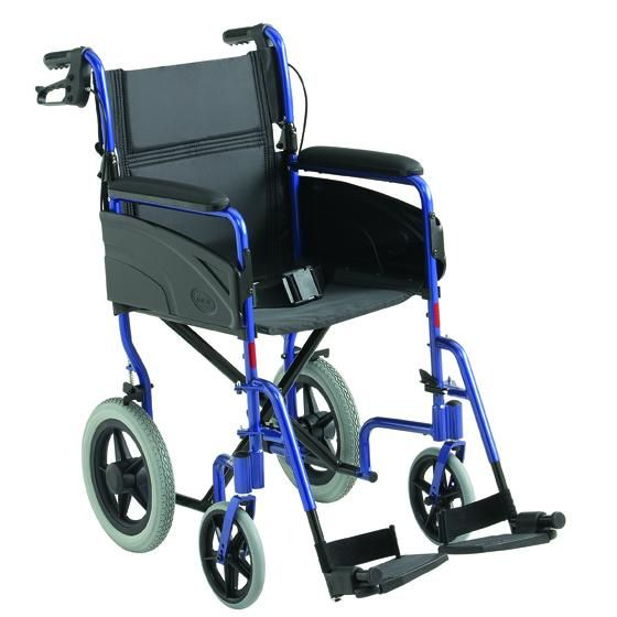 Invacare Alu Lite Transit wheelchair viewed from the side angle showing the attendant brakes