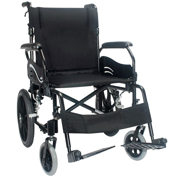 Karma Wren 2 Transit Wheelchair shown from the side view