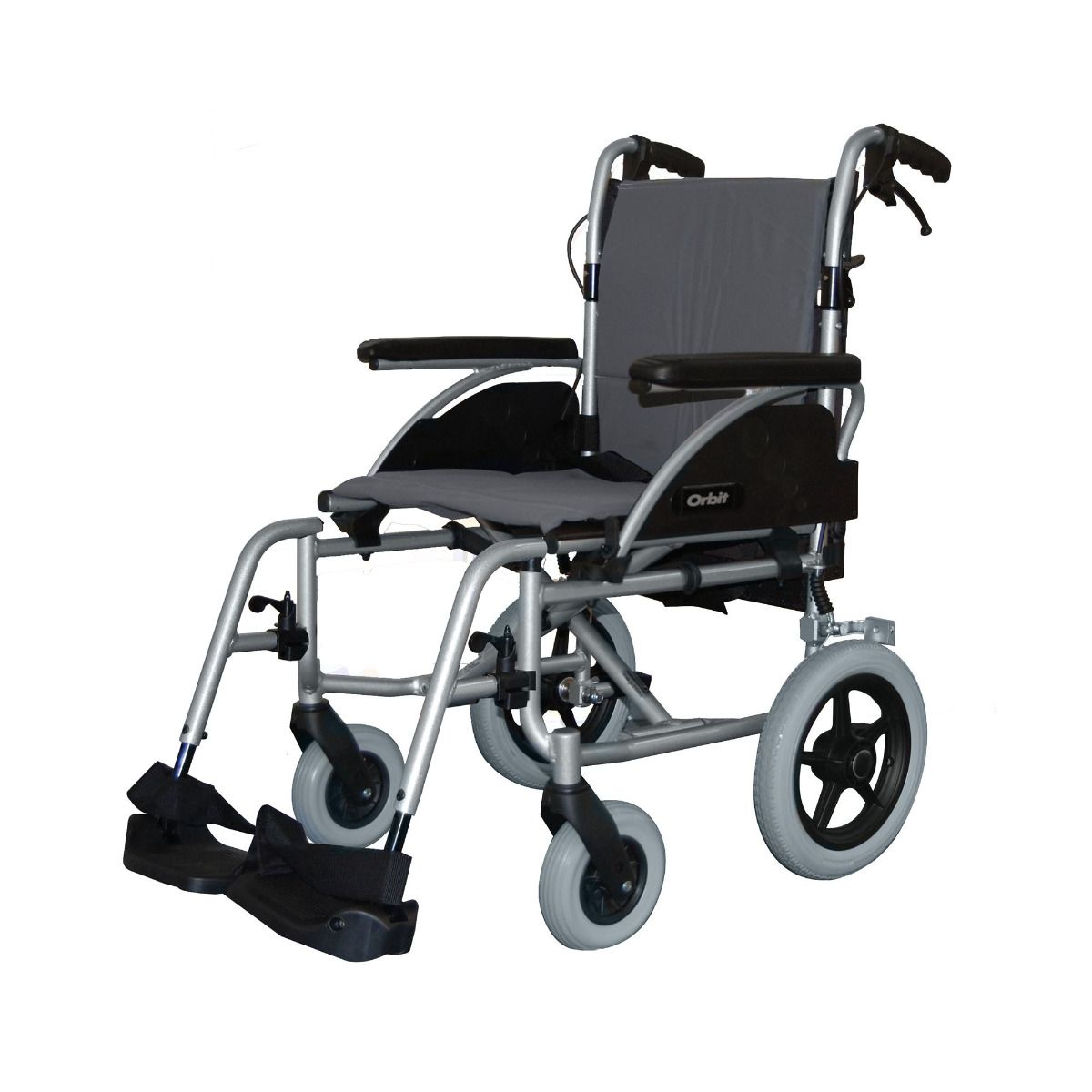Roma Medical Orbit Lightweight Car Transit Wheelchair viewed fro mthe side angle