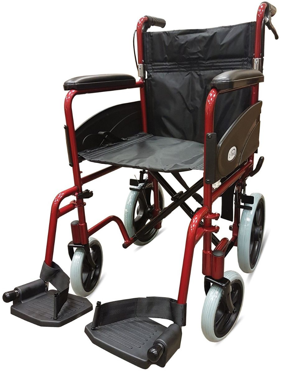 Z-Tec 601X Aluminium Transit Wheelchair with brakes in red
