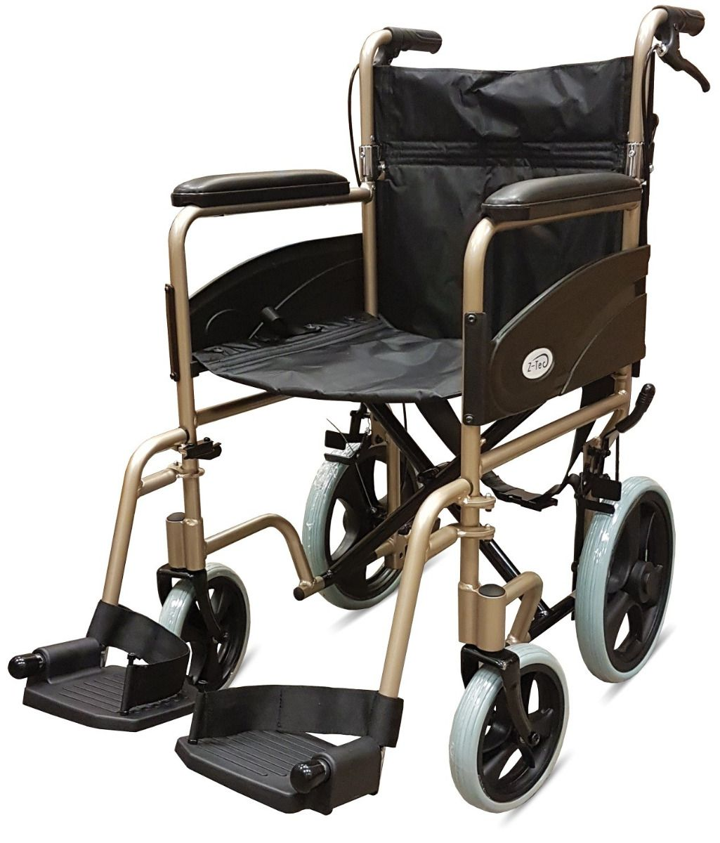 Z-Tec 601X Aluminium Transit Wheelchair in champagne colour frame