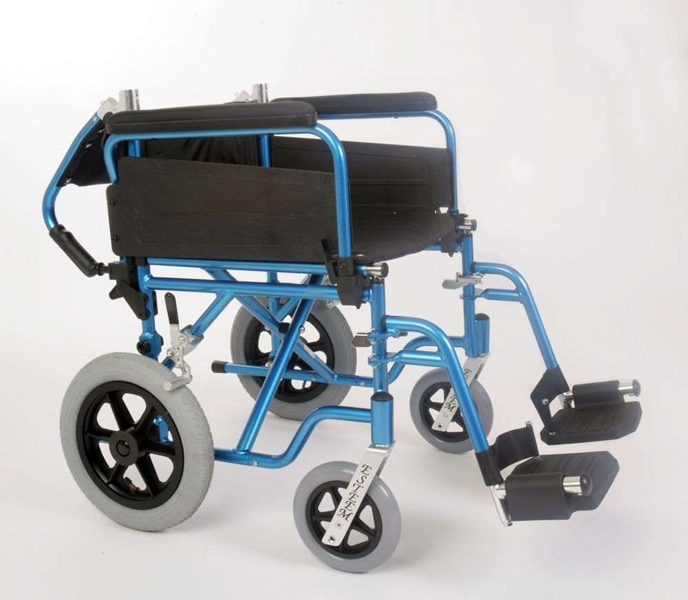U-Go Esteem Alloy Transit Wheelchair showing the fold down back for transport or storage