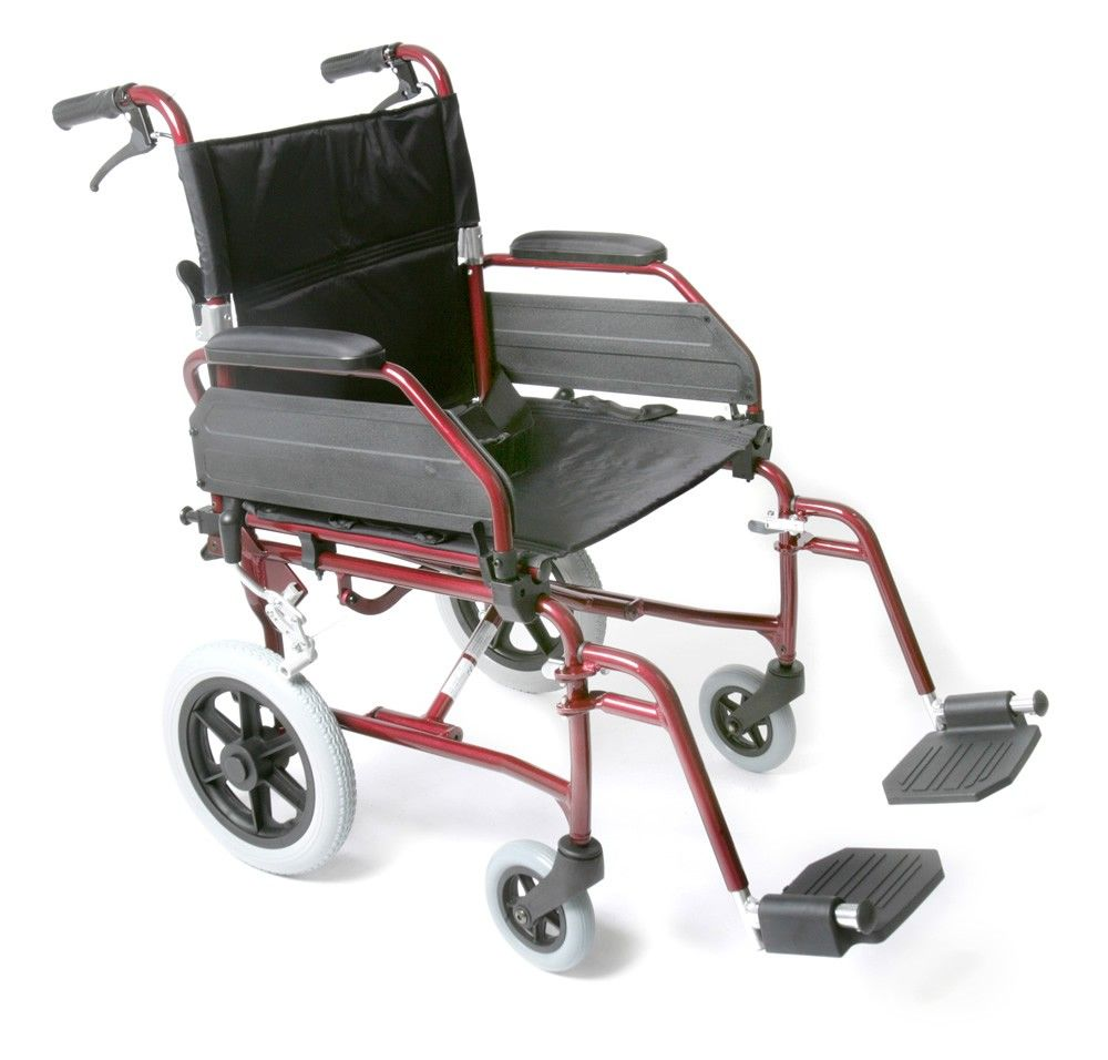 Esteem Lightweight Alloy Transit Wheelchair with brakes seen from the side
