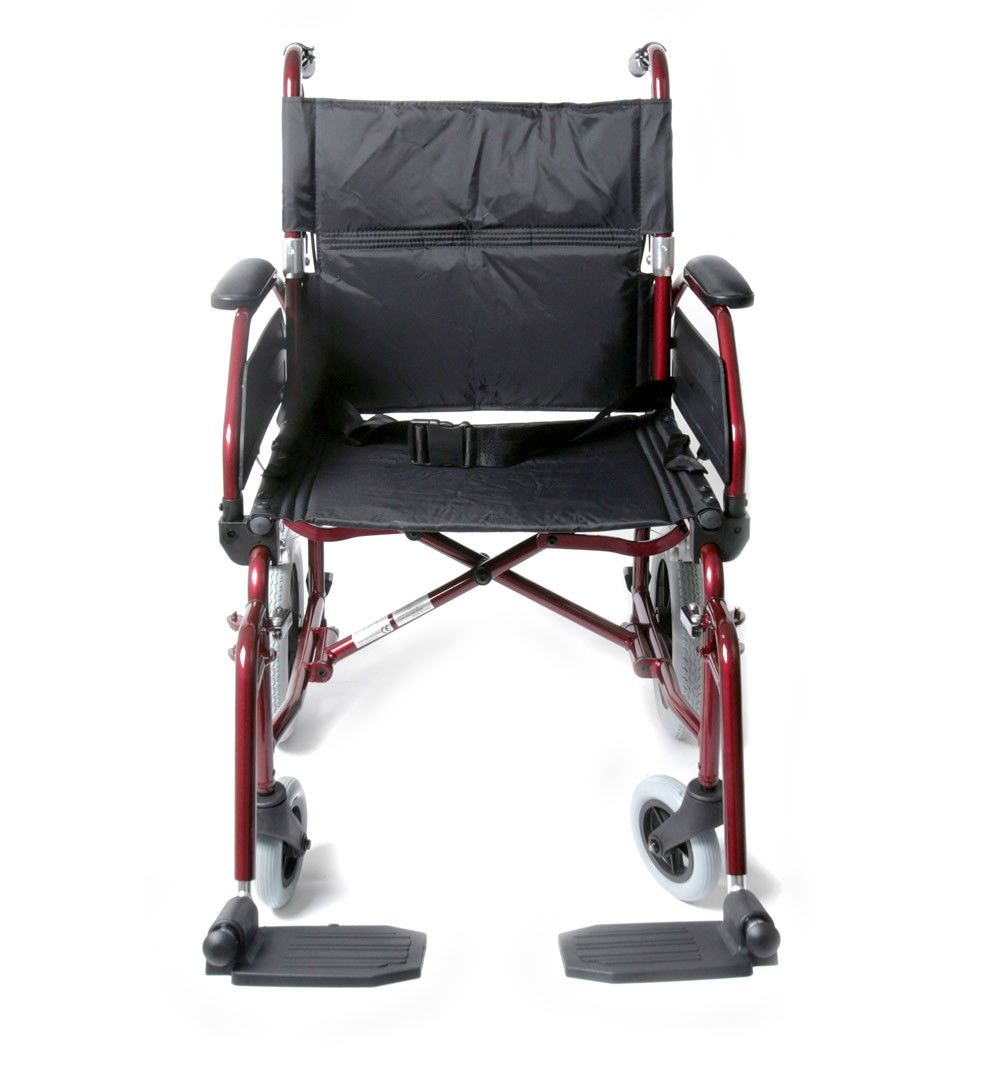 Cheap Transit Wheelchair with brakes seen from the front