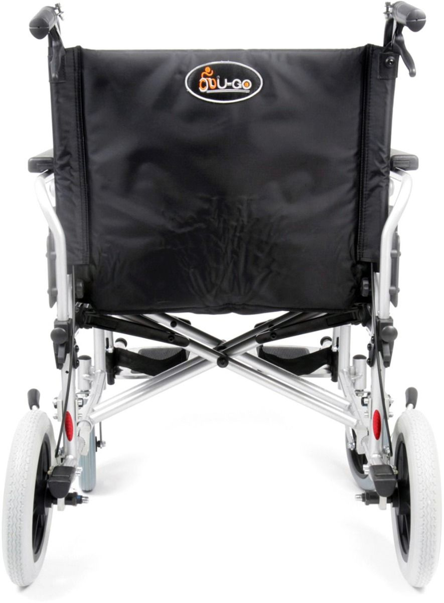 Esteem Heavy Duty Bariatric Transit Wheelchair with brakes shown from the rear