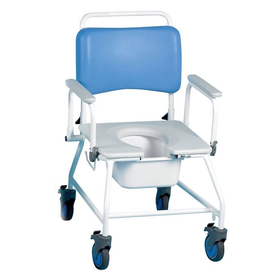 Atlantic bariatric commode shower chair viewed from the front showing the comfy vinyl seat