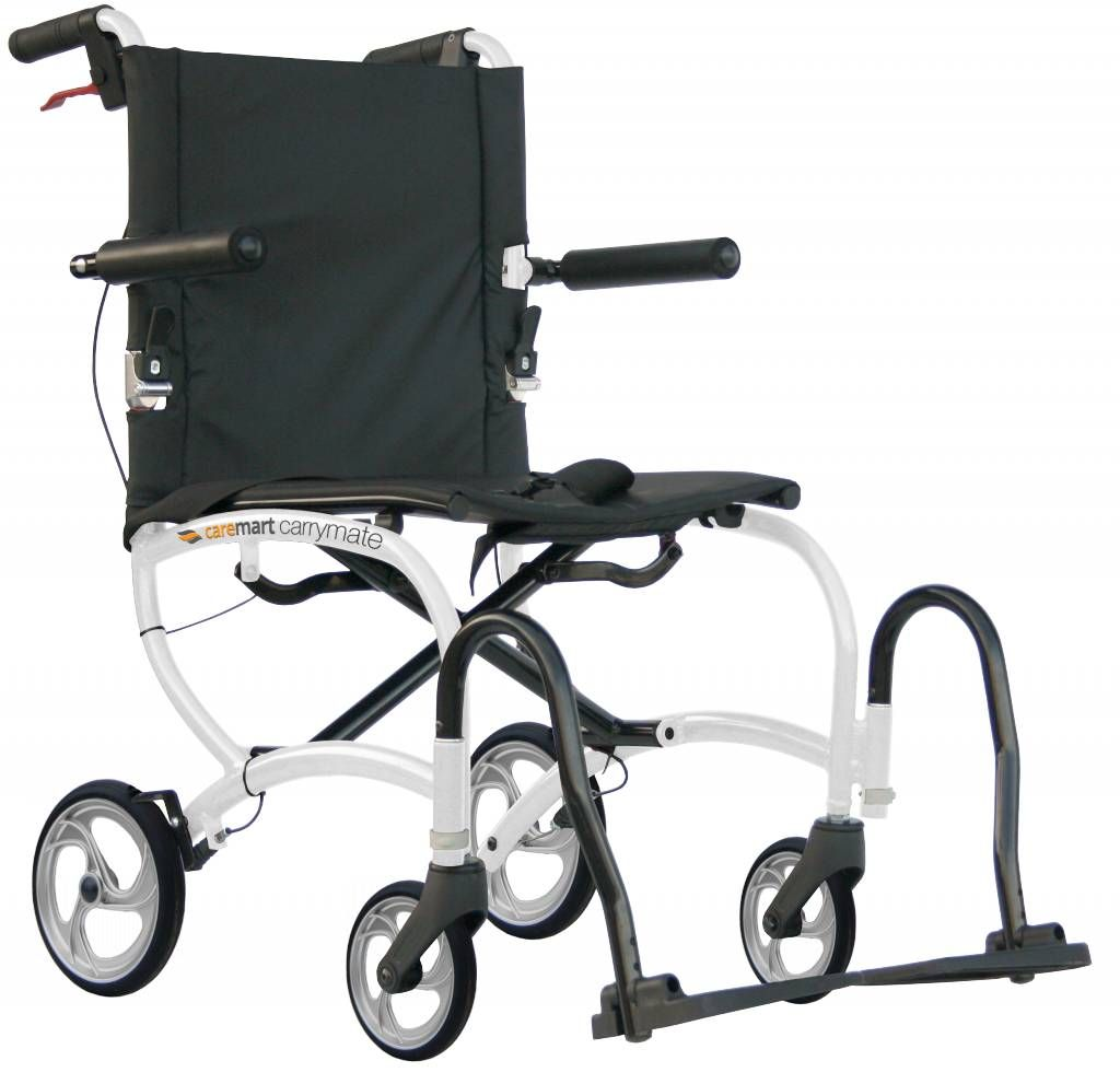 Excel Caremart Carrymate travel wheelchair shown side on