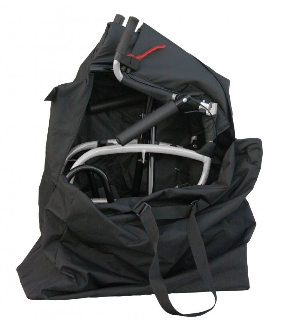 Excel Caremart Carrymate travel wheelchair shown packed in the bag which is included