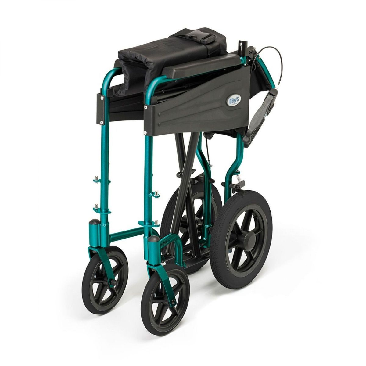 Days Escape Lite Transit Wheelchair in green showing it folded