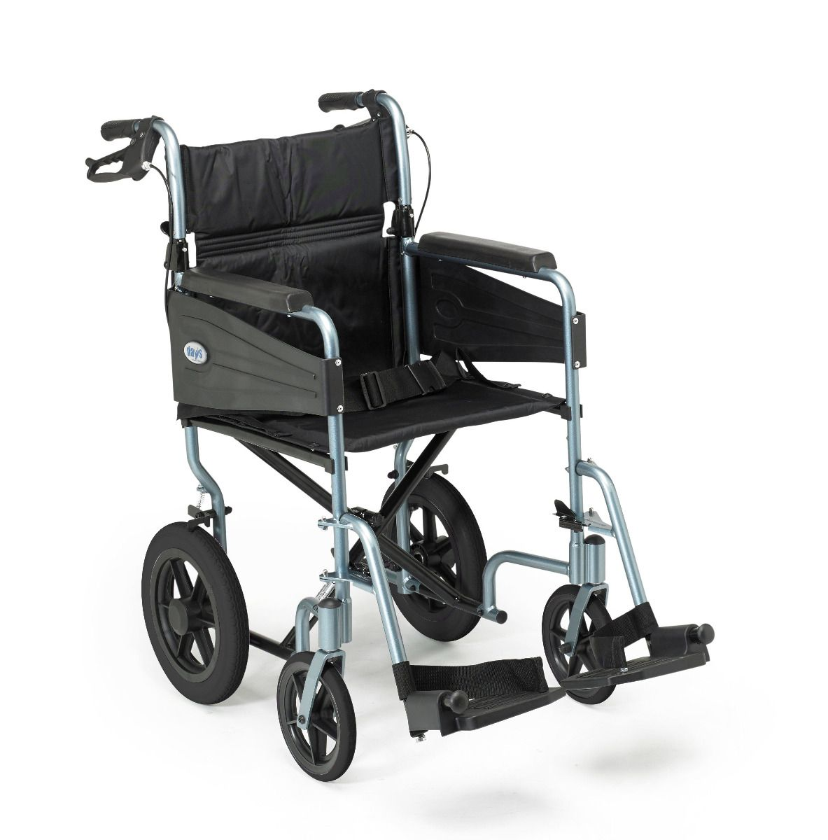 Side view of the Days Escape Lite wheelchair showing the attendant brakes and blue frame colour