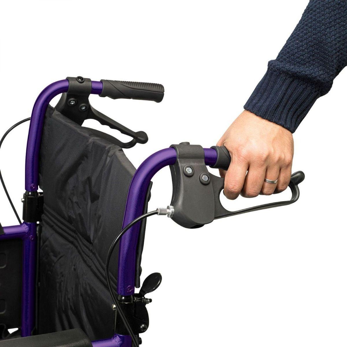 Days Escape Lite Transit Wheelchair in purple showing attendnant brakes