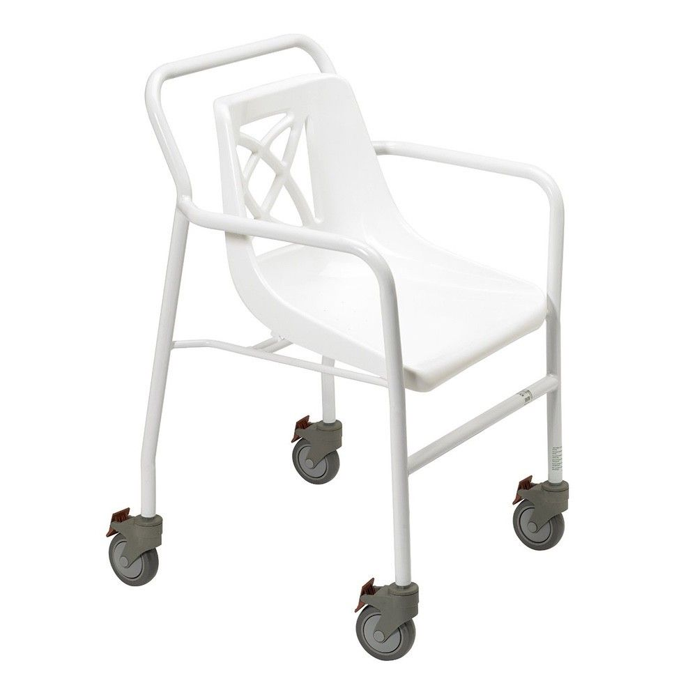 Days portable wheeled shower chair with plastic seat shown from the side angle