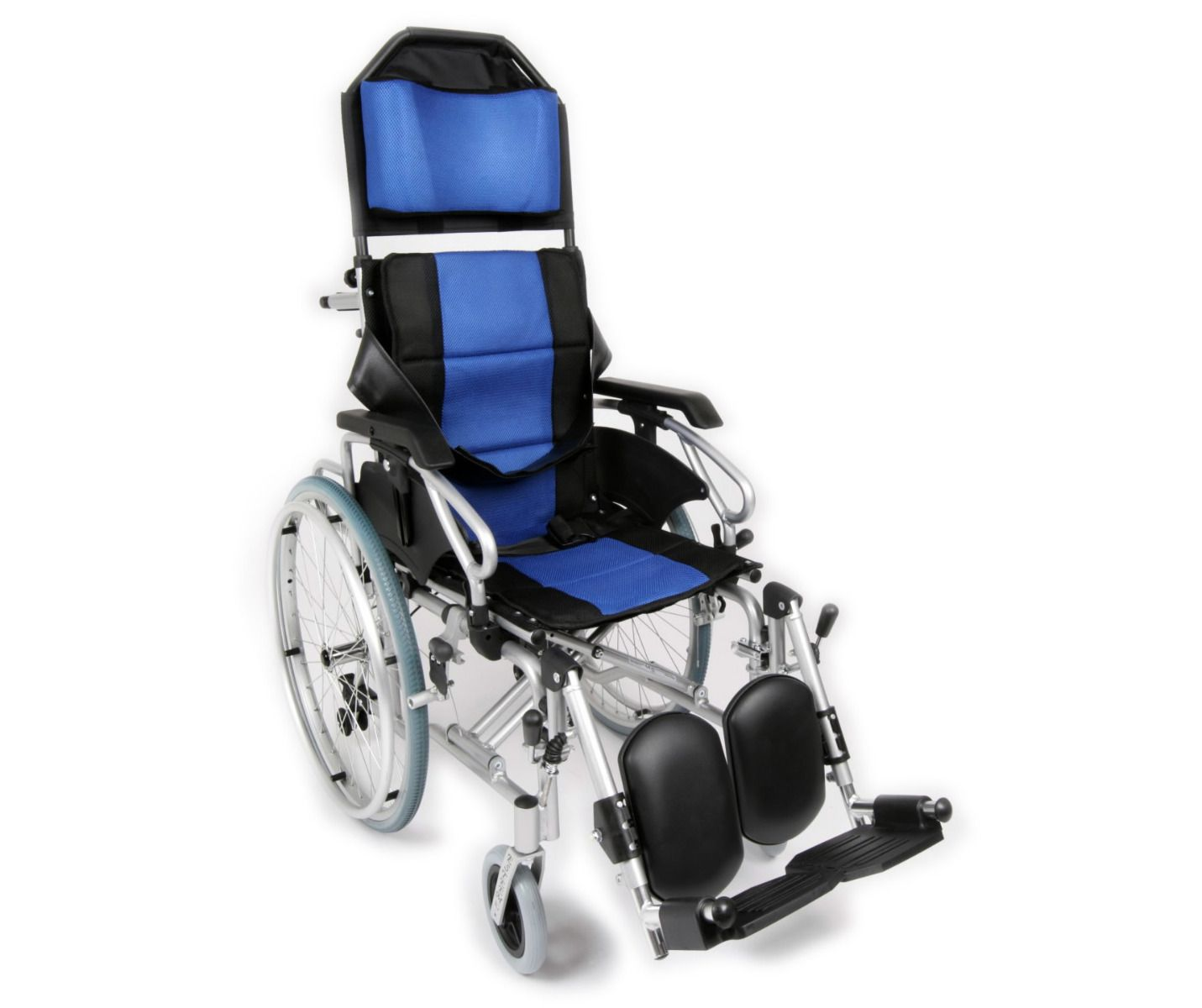 Reclining self propelled wheelchair viewed from the side angle