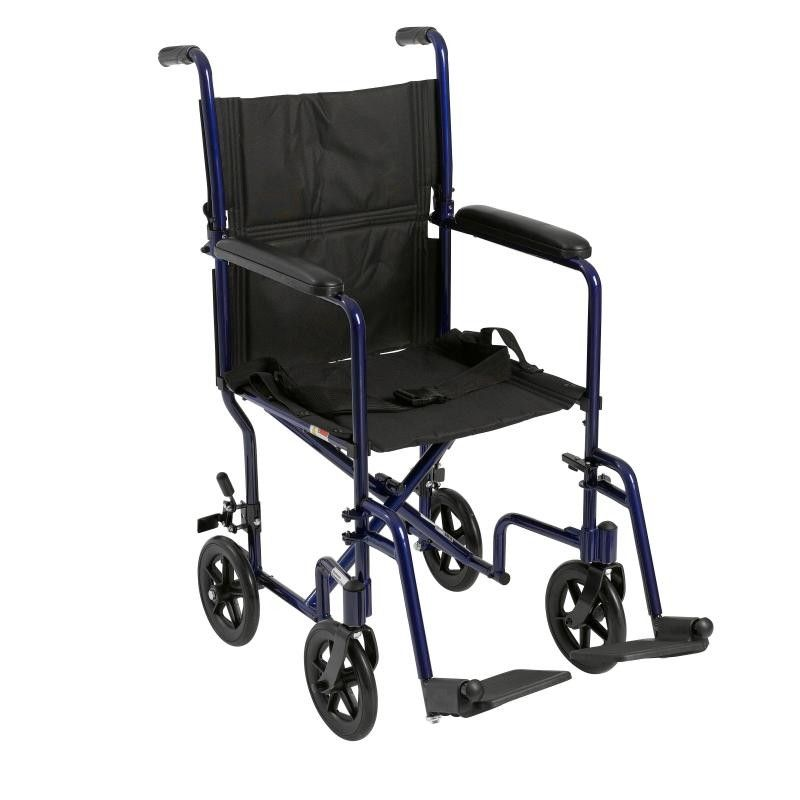 Drive Medical Aluminium Travel Wheelchair viewed from the side showing foot rests