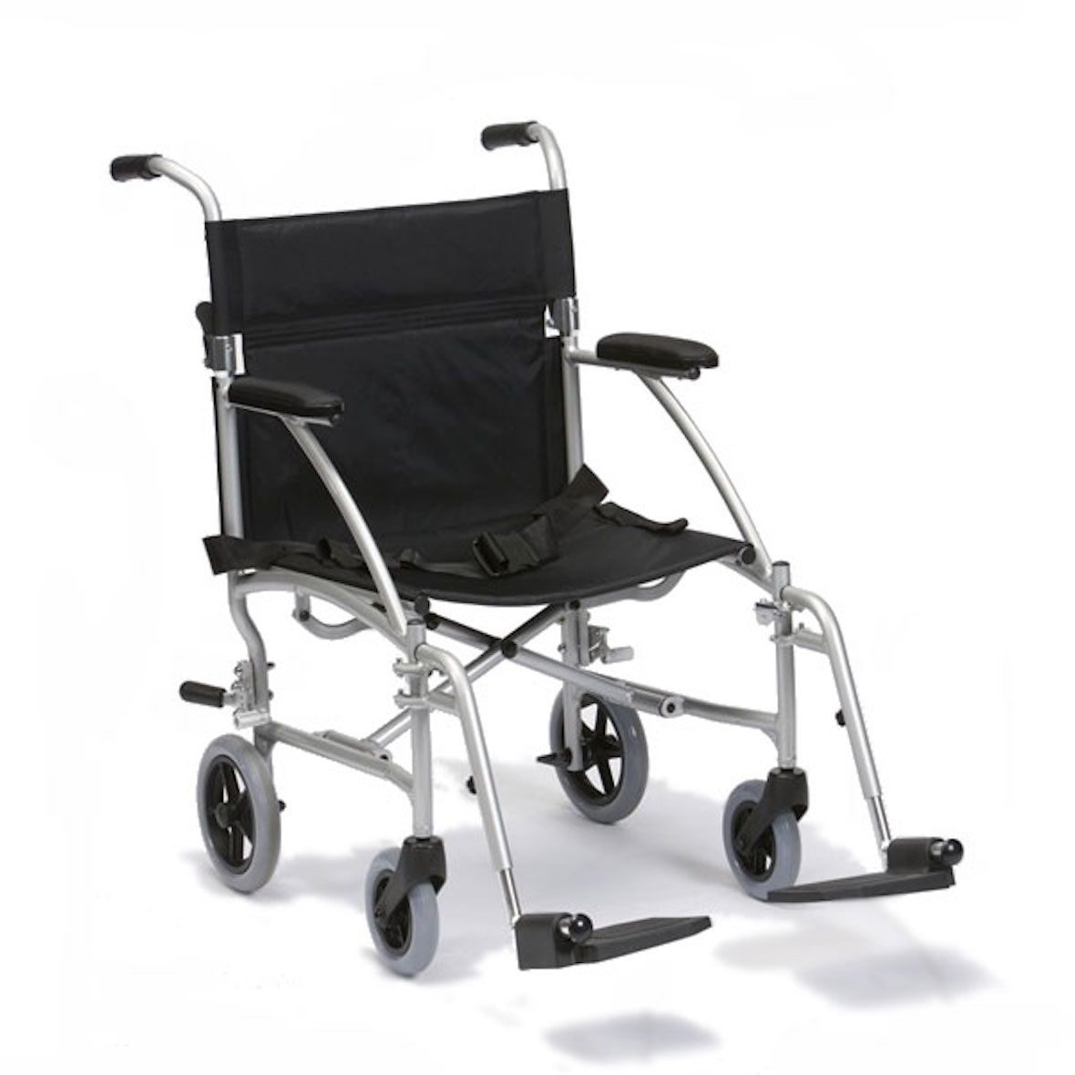 Side view of the Drive Medical aluminium travelling wheelchair