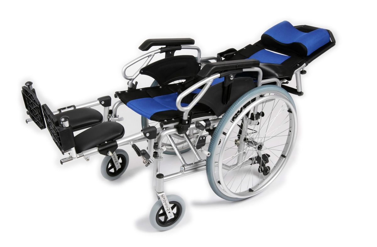 Tilt in space wheelchair shown fully reclined with foot rests raised
