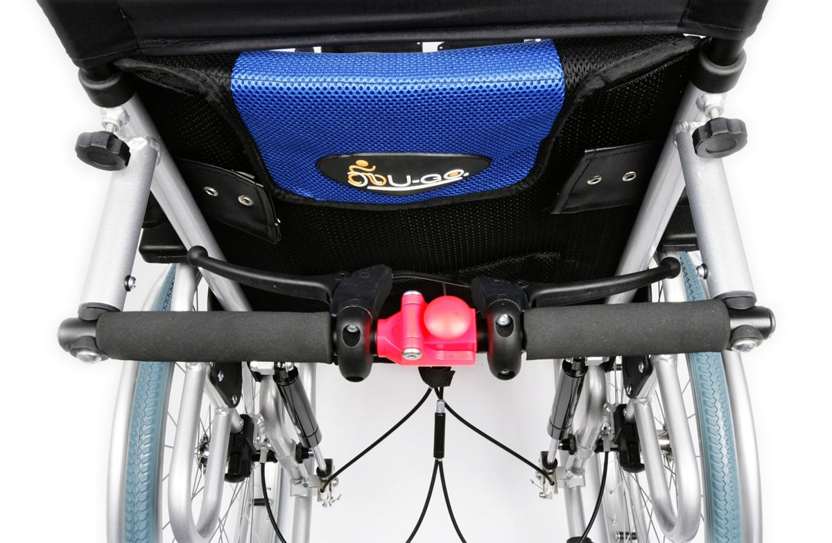 UGO Deluxe reclining wheelchair brakes and back of seat