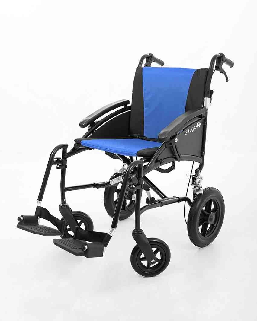 Excel G-Logic Transit Wheelchair shown from the side angle
