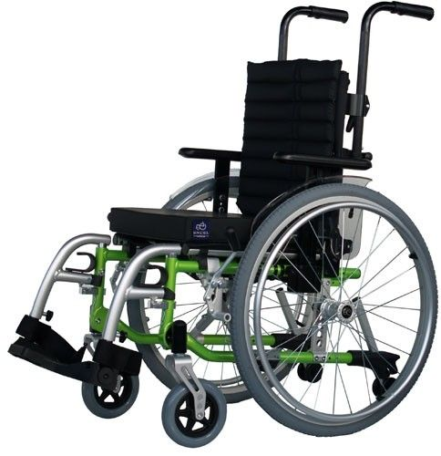 Excel G5 Modular Kids Self Propelled Wheelchair in green side view