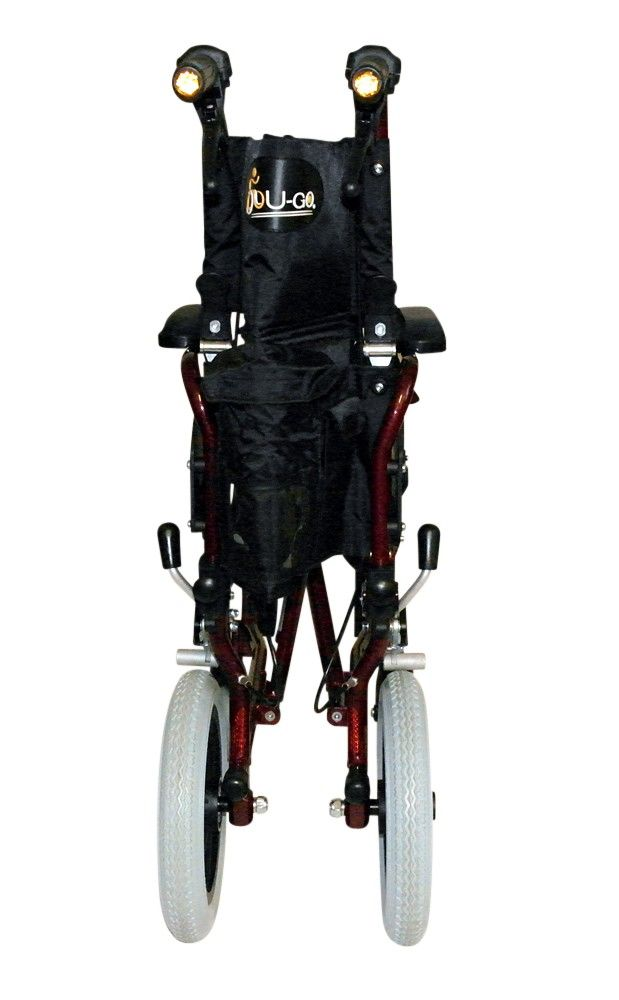 Lightweight Transit Wheelchair with brakes folded for storage