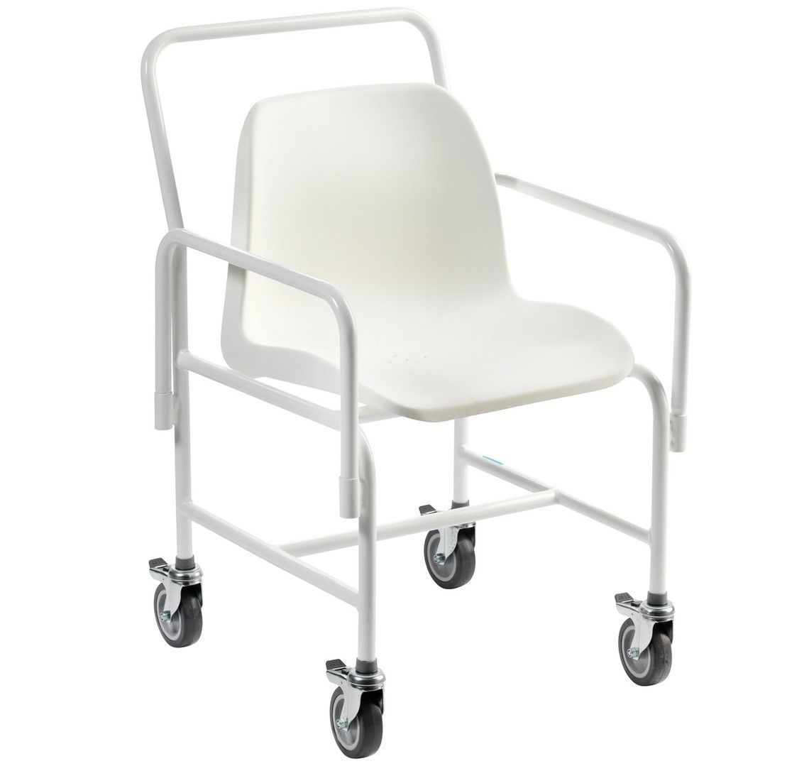 Hallaton wheeled shower chair shown from the side angle with brakes on each wheel
