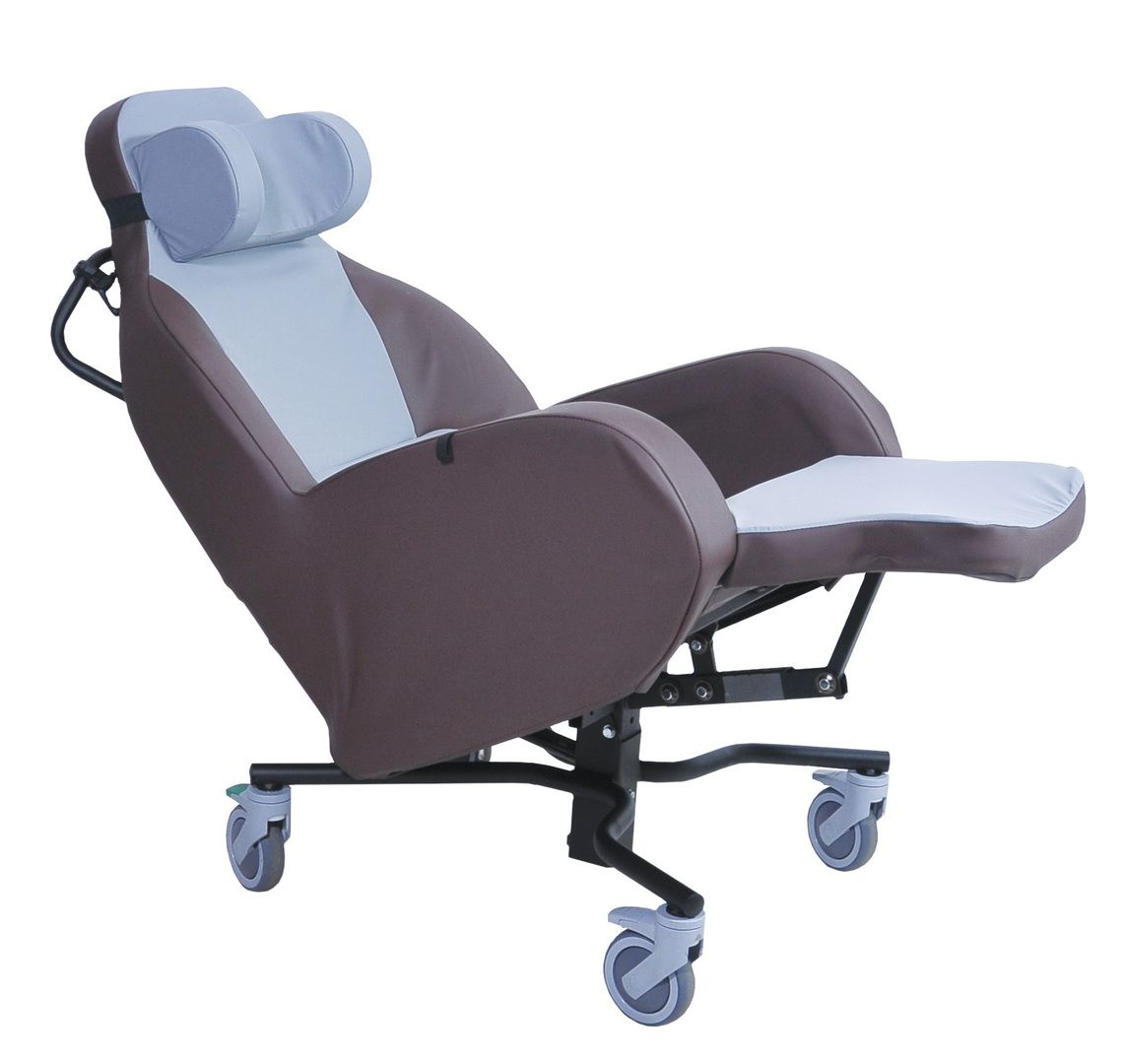 The Integra Shell Seat shown in a tilted position with leg extension up