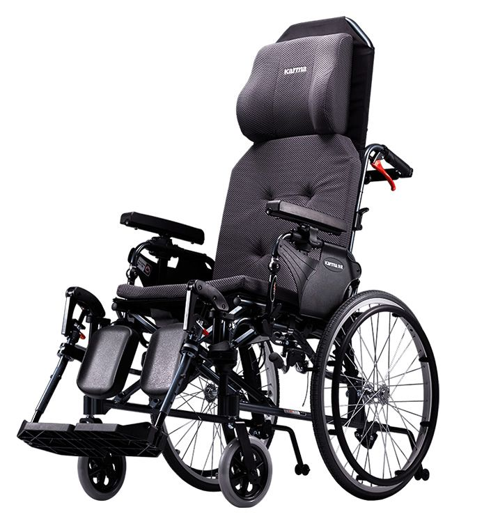 Karma MVP 502 reclinnig wheelchair viewed from the side showing the leg rests