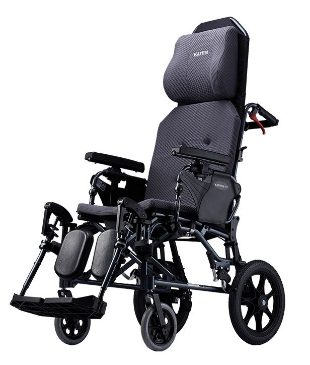 The Karma MVP 502 reclining transit wheelchair shown from the side