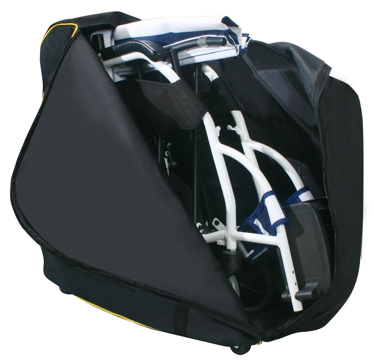 A strong wheeled bag for transporting wheelchairs