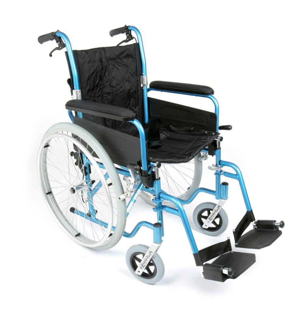 Esteem lightweight self propelled folding Wheelchair showing the attendnat brakes