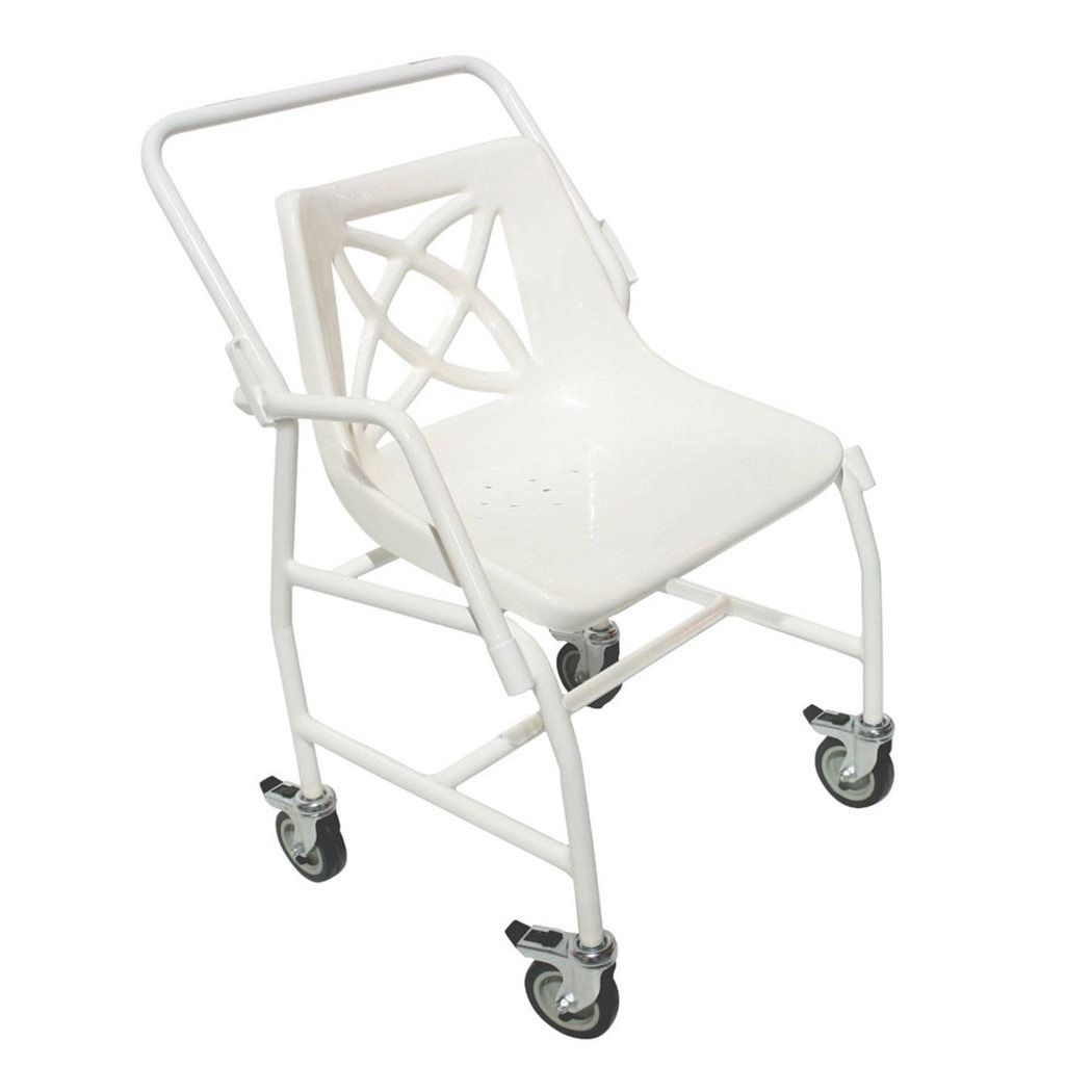 Patterson Medical heavy duty shower chair on wheels showing the removeable arm rests