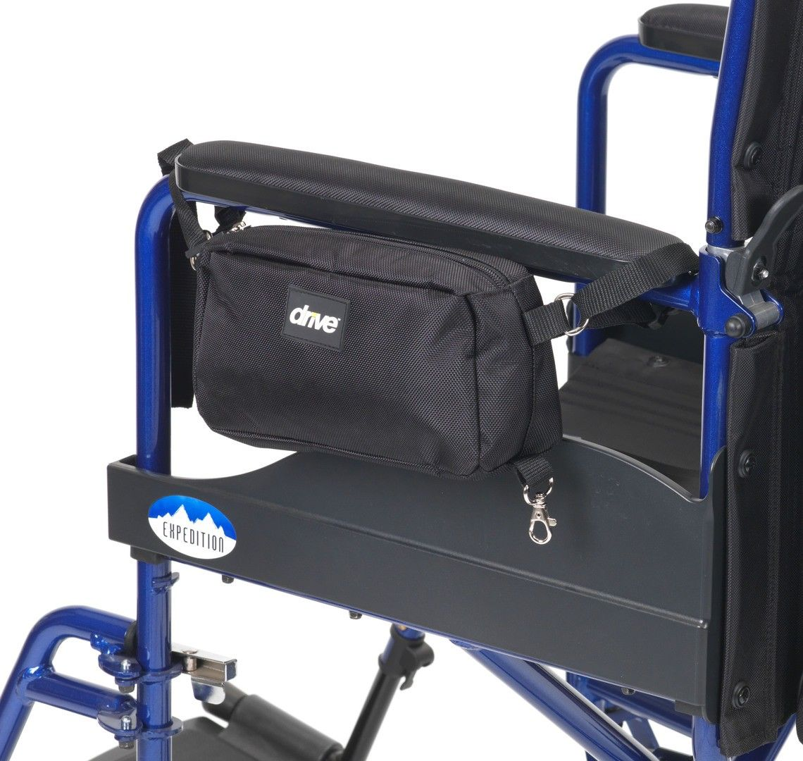 Wheelchair Bag Set showing the smaller bag attached to the armrest of the wheelchair