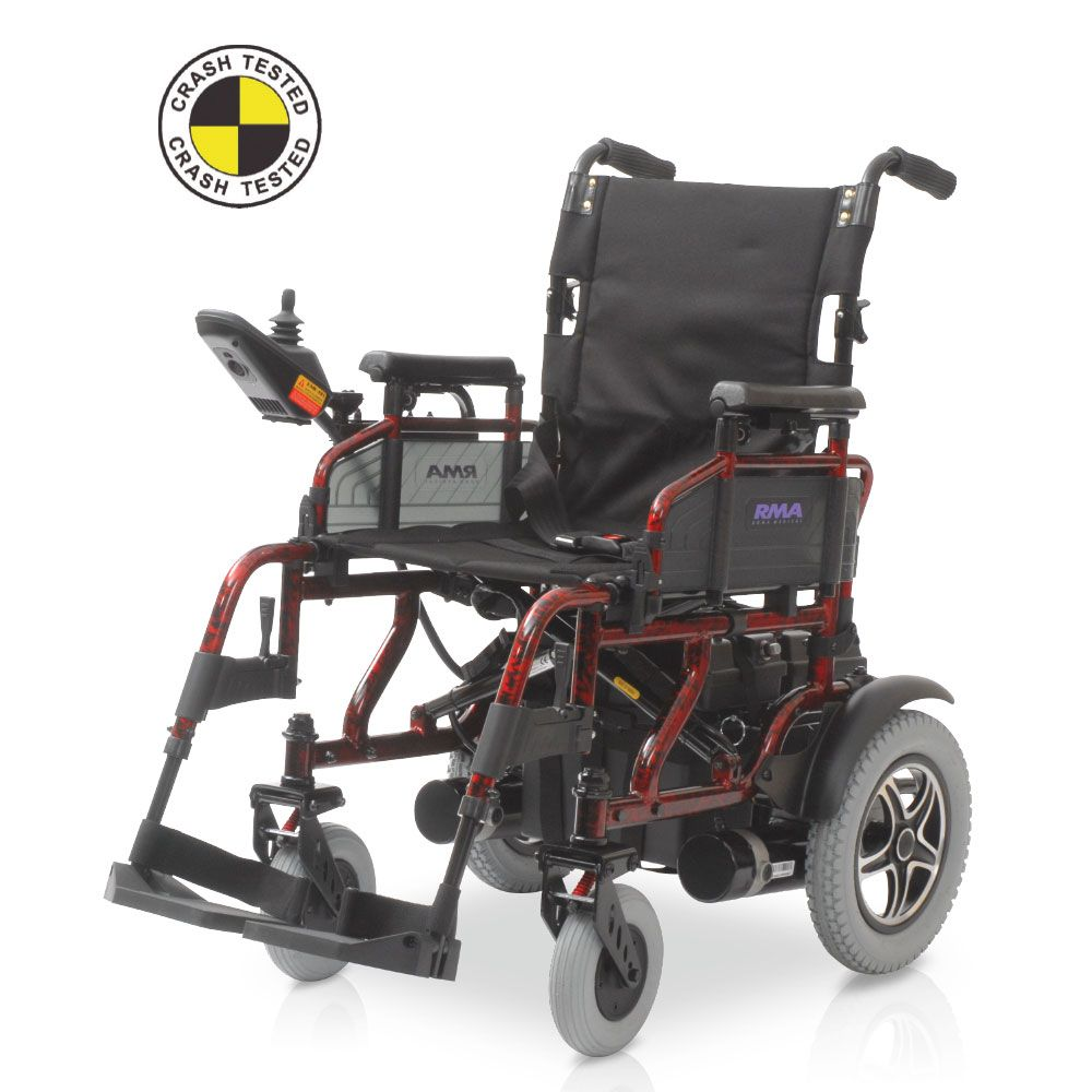 Roma Shoprider Sirocco electric wheelchair shown without seat cushion