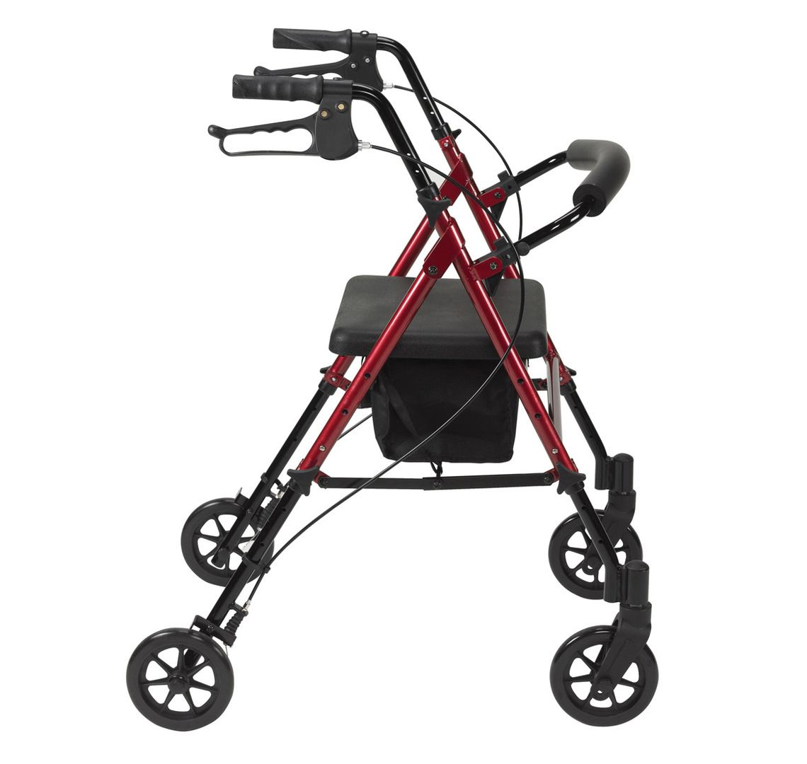 Drive Medical Ultra Lightweight Rollator in red viewed from the side