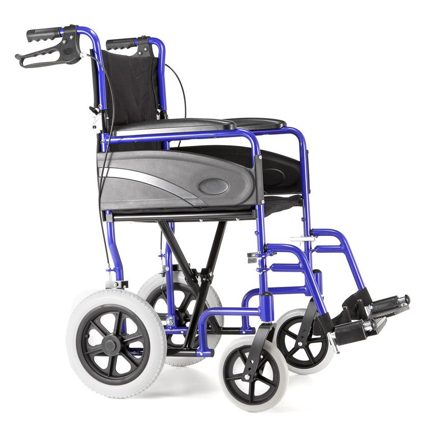 R Healthcare Dash Capri Transit Wheelchair in blue viewed from the side