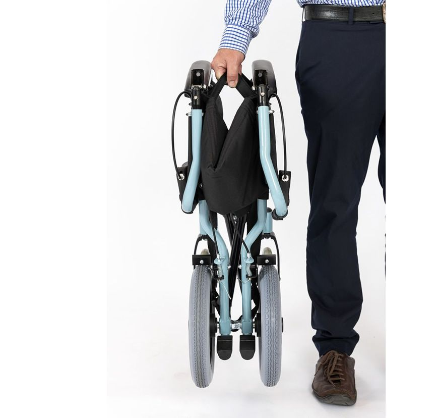 The Dash Capri Transit Wheelchair folded for carrying