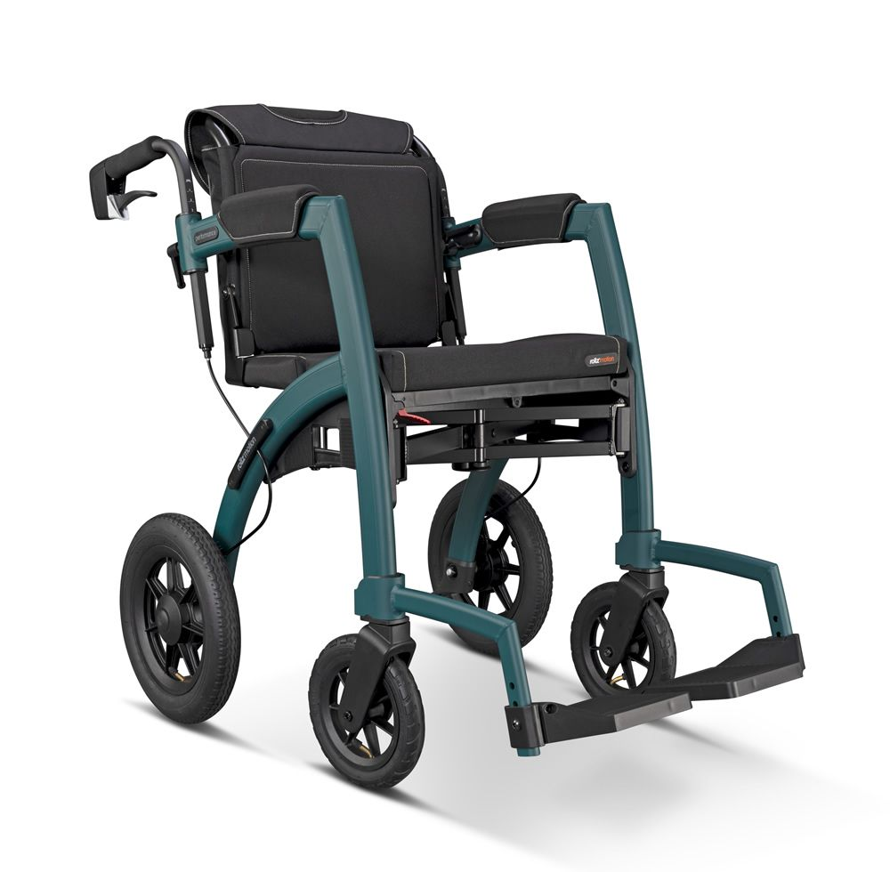 Rollz Motion Performance  in green viewed from the side with bag visible