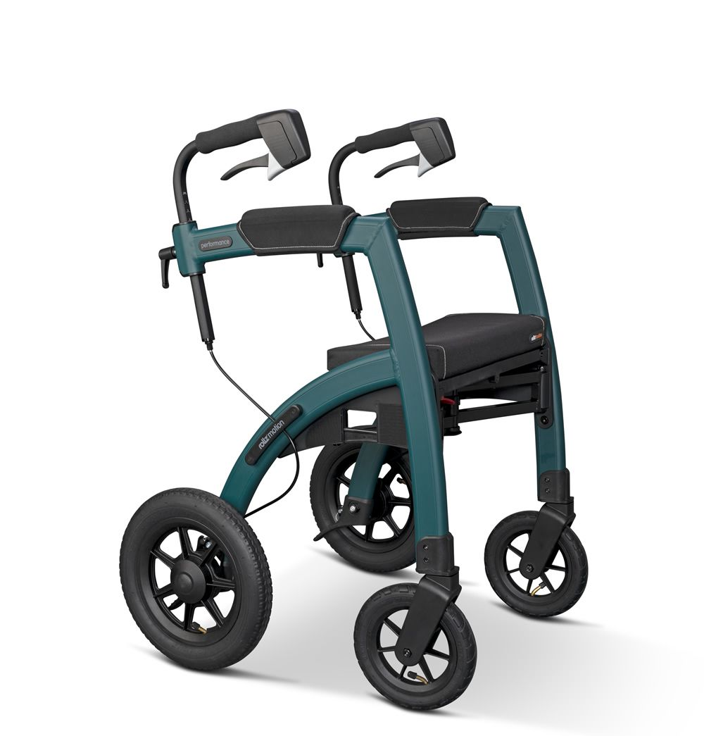 Rollz Motion Performance Rollator shown from a reverse angle displaying large wheels