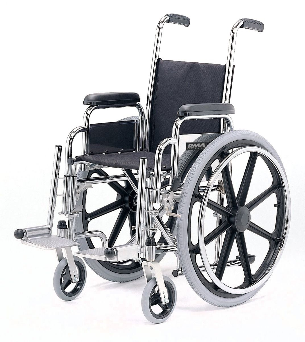 Side view of the Roma Medical 1451 paediatric self propelled wheelchair with chrome frame