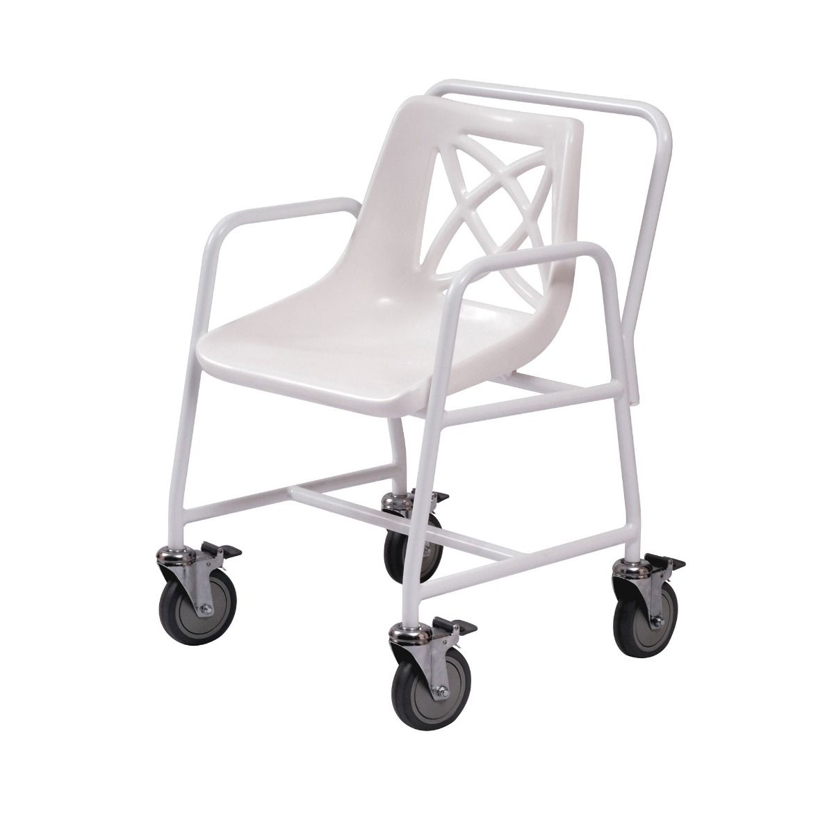 Roma Medical wheeled shower chair viewed from the side with brakes on each wheel