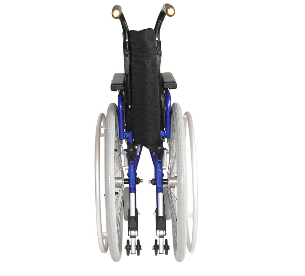 UGO Sprite childs Wheelchair shown folded ready for storage with a rear view