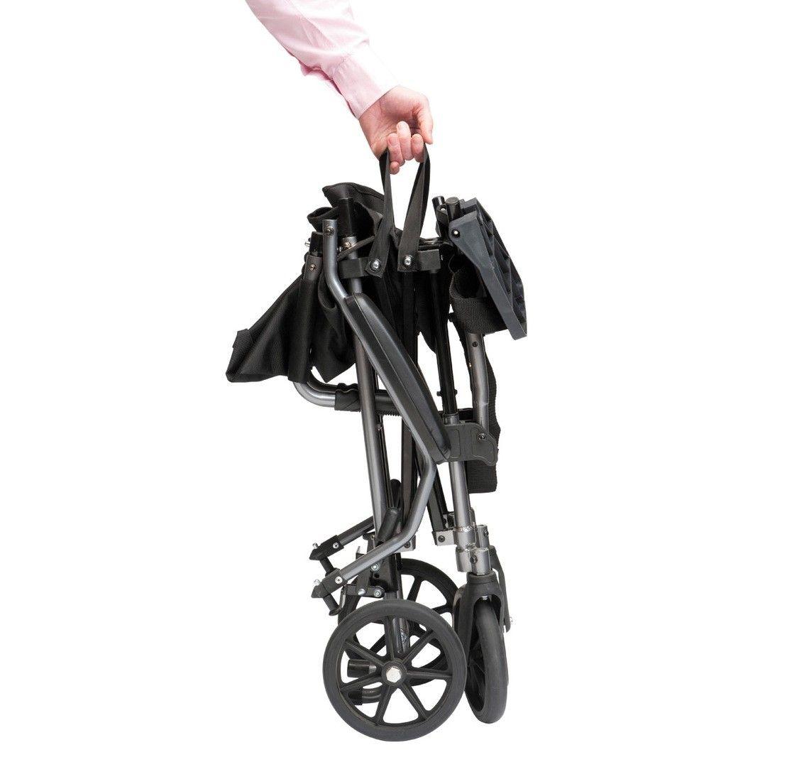 TraveLite aluminium transport chair folded for transportation