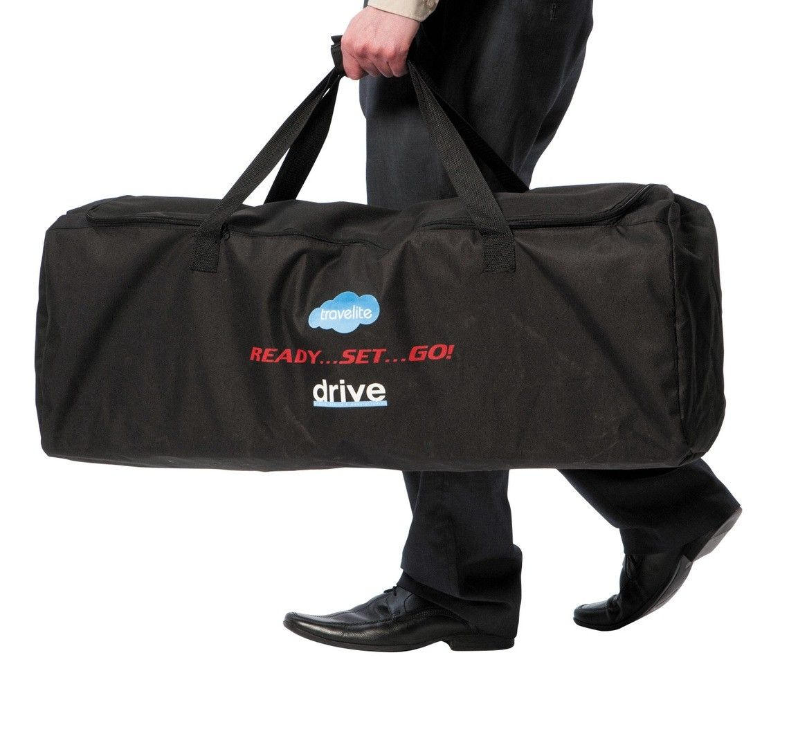 TraveLite aluminium transport chair folded and in the bag