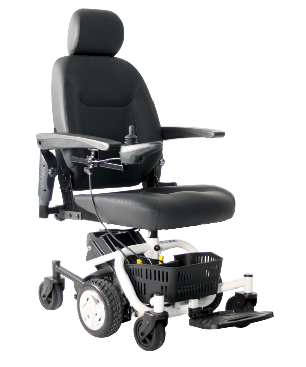 Travelux Quest electric wheelchair with captains seat viewed from the side