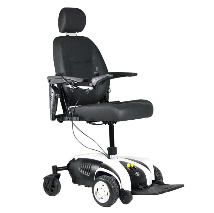 Powerchair with seat extended