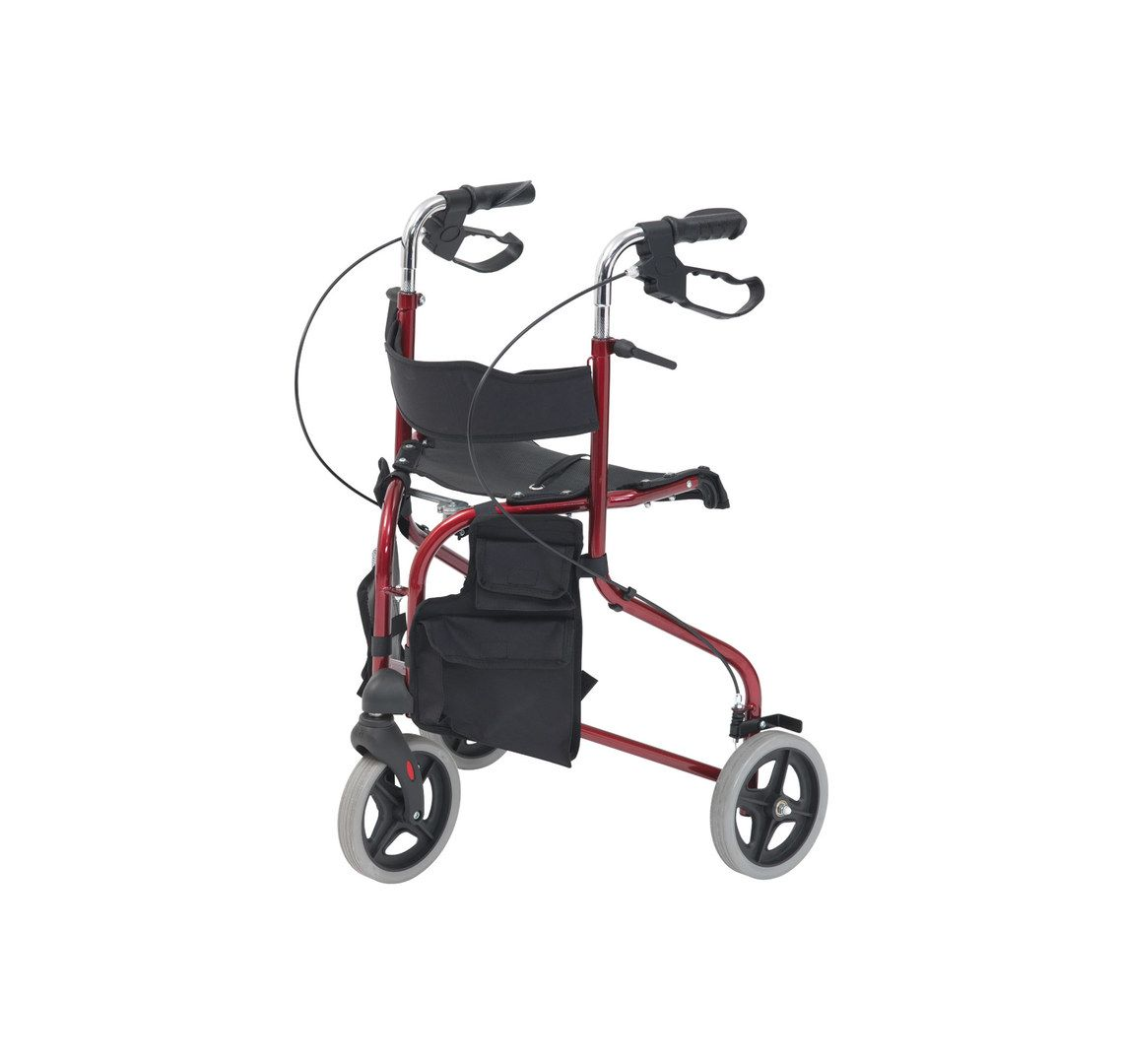 A folding tri walker with seat